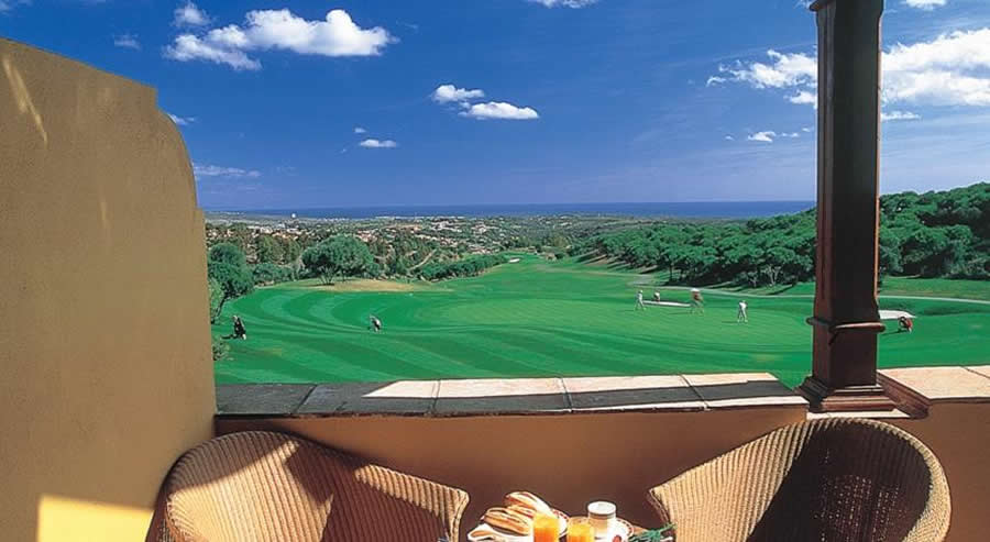view of the almenara golf course from the clubhouse terrace