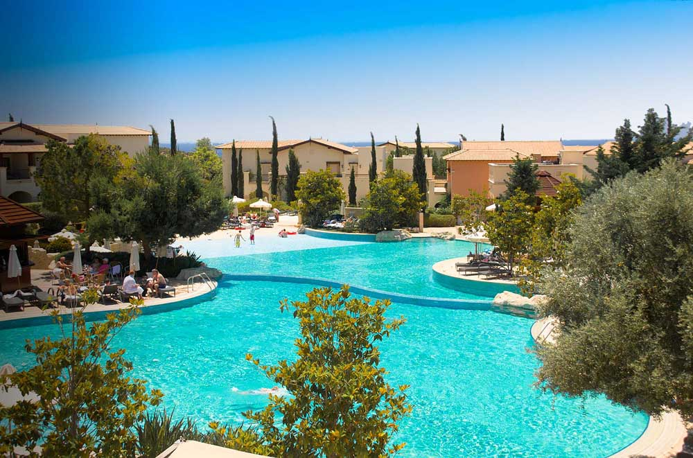 the huge outdoor swimming pool at Aphrodite Hills Golf and Spa resort