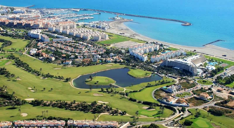 ariel view of the AR Almerimar hotel and golf course