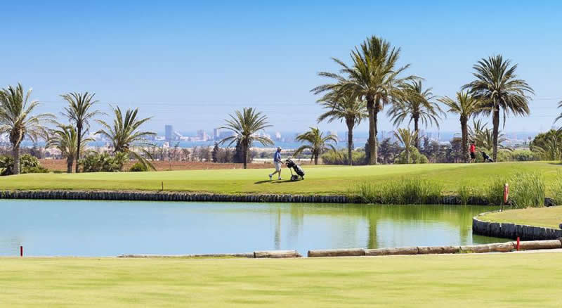 a golfer on the la manga north course