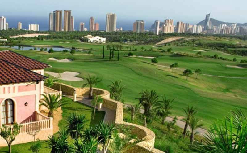 a view of the levante course, with the sky-scraper buildings of Benidorm in the background